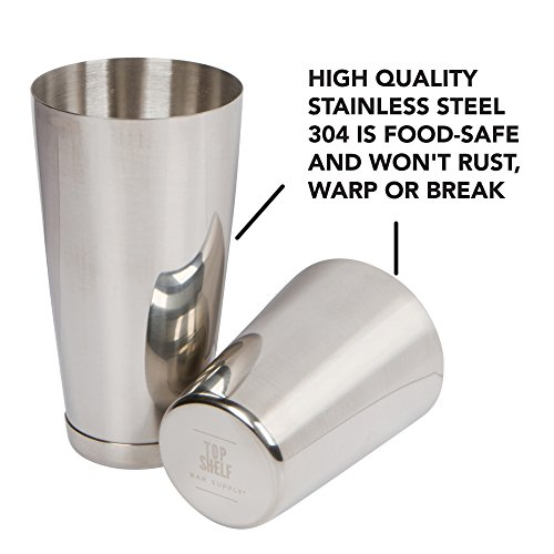 Stainless Steel Boston Shaker: 2-piece Set: 18oz Unweighted & 28oz Weighted Professional Bartender Cocktail Shaker by Top Shelf Bar Supply (Image #3)
