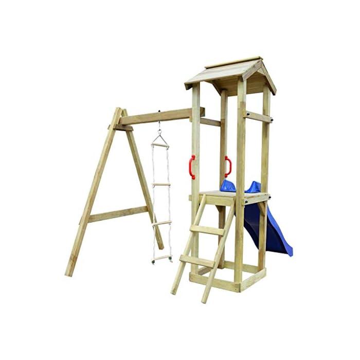 41Vn oTrc2L 【La Entrega】El set de parque infantil cuenta con una estructura de madera maciza, 1 Torre de madera,1 Escalera de cuerda,1 Tobogán ondulado,1 Escalera inclinada,2 Cómodas empuñaduras,1 Caja de arena. 【Fuerte y Duradero】La robusta estructura es de madera de pino verde impregnado con certificación FSC. Este parque infantil de madera es muy robusto, resistente a la intemperie y duradero.La escalera de cuerda está unida a la estructura mediante ganchos metálicos resistentes al desgaste. 【Cumple Estándares de Seguridad】Las coloridas empuñaduras ofrecen seguridad extra. Los padres podrán estar tranquilos mientras sus hijos se lo pasan en grande en este parque de juegos, que cumple los más recientes estándares de seguridad.