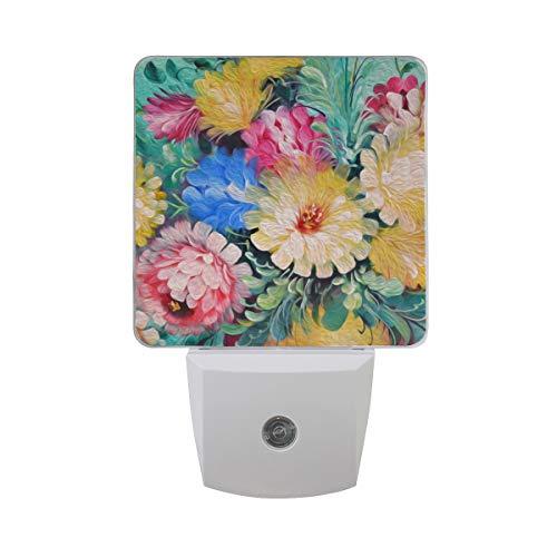 Paquete de 2 lámparas de luz nocturna LED con diseño de flor de cebolla morada con estampado floral y sensor de anochecer a...