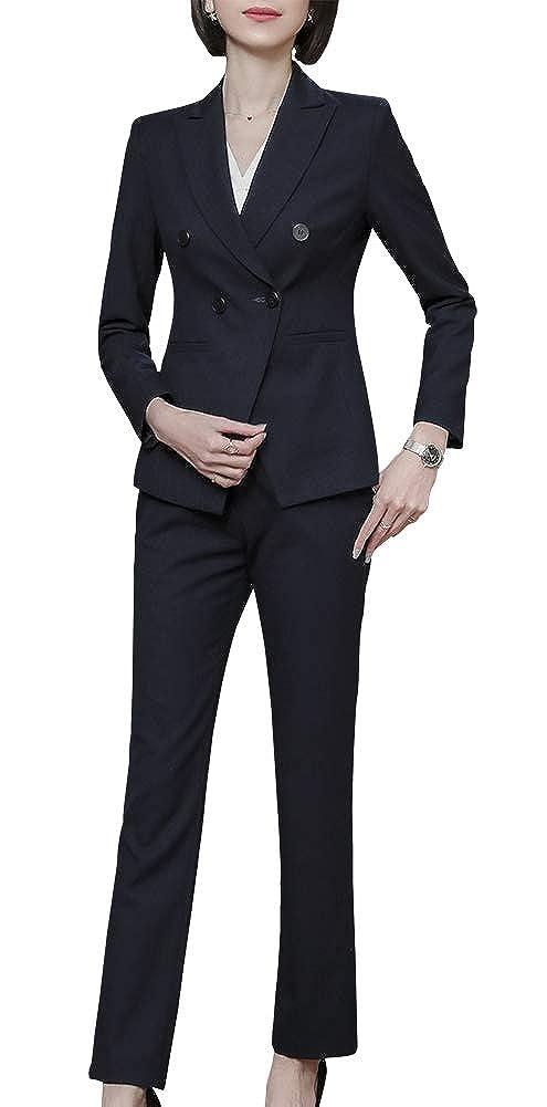 blueekz LISUEYNE Women's Elegant 2 Pieces Stripe Office Lady Work Blazer Suits Slim Fit Business Suits for Women