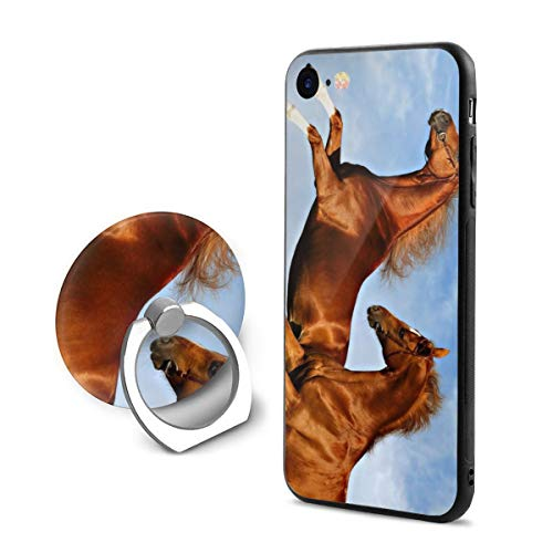 Fashion iPhone 8 Case iPhone 7 Case Two Horses Frolic On The Plain Spring Time Scratch Proof Shock Absorption Mobile Phone Shell ()