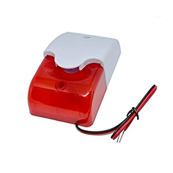 DC9 to 12V Wired Strobe Siren Red Light Sound Flash Buzzer Siren Home Security Alarm System Electric Security Siren 110dB@12V DC