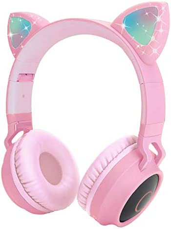 Kids Wireless Headphones Cat Ear Bluetooth Headphones with Flashing Led Light, SD Card Slot, FM,3.5 mm Audio Jack Wired Kids On Ear Headphones for Boys Girls Adults Pink