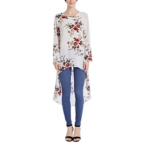 Zhuhaitf Floral Irregular Tops Muslimah Blouse Dress Shirt for Ladies Caftan Abaya by Zhuhaitf