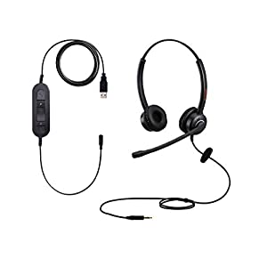 3.5mm USB Computer Headset PC Headphone With Microphone for Laptops Teams Skype Wired Two Ears Cell Phone Headset for…