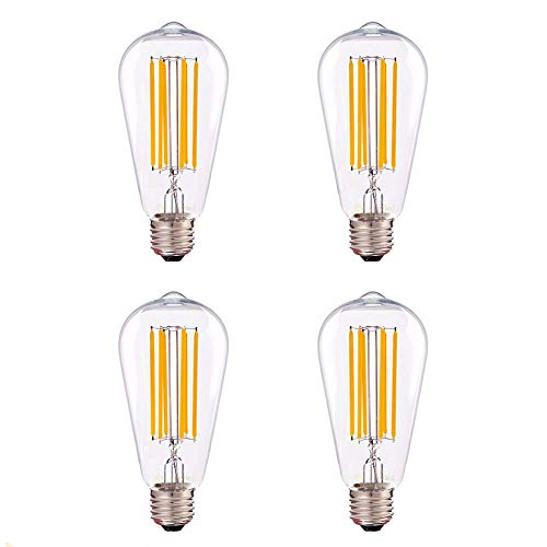 4 Pack - LED Edison Bulb Antique Filament Style 6 Watt (60W Equivalent), 500 lumens, 2200K Vintage Warm White Color Temp Clear Glass Finish UL Listed