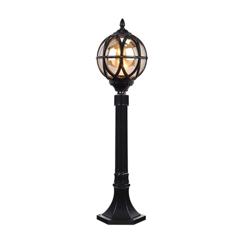 Esterni retro percorso luci E27 nero antico luce esterna in alluminio vetro palla zoccolo luce impermeabile prato Villa Terrazza balcone pilastro luce, h80cm