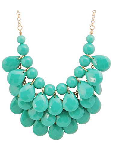 JANE STONE Fashion Bubble Layered Necklace Floating Teardrop Collar Statement Jewelry for Women(Fn0580-Emerald)