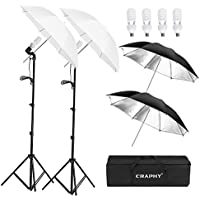 CRAPHY Photo Studio Lighting Kit with 2x33 Translucent Umbrella Black/Silver Reflective Umbrella, 4x 45W 5500k Light Bulbs, Aluminum Alloy Light Stand, Portable Carrying Bag