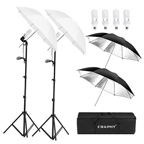 CRAPHY 500W Photo Studio Lighting Kit with 2x33 Translucent Umbrella Black/Silver Reflective Umbrella, 4 x 45W 5500k Light Bulbs, Aluminum Alloy Light Stand, Portable Carrying Bag by CRAPHY