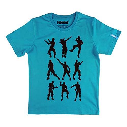 41Vn2AdWLbL. SS500 Producto Oficial Licenciado. Cada etiqueta tiene un holograma con un número de serie único que garantizan la legalidad del producto. MUY IMPORTANTE: En la guia de talla puede consultar las medidas de la camiseta para que pueda elegir la talla correcta y evitar posibles cambios. Camiseta Fornite infantil color azul con un diseño varios bailes Fortnite