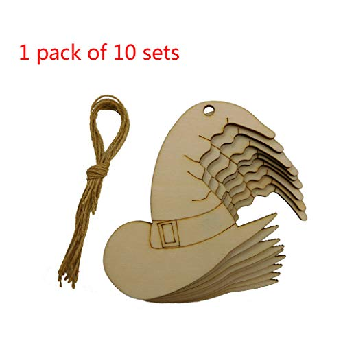 Lovhop 10 Pcs/Pack DIY Wooden Crafts Halloween Party Hanging Woodwork Witch Hat Cap Wood Piece Home Decoration -