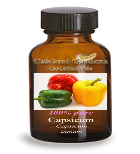 Capsicum Essential Oil - 100% PURE Therapeutic Grade Essential Oil - Hot Pepper Essential Oil By Oakland Gardens (Capsicum - 4.0 fl oz Bottle) (500 Hot Pepper)