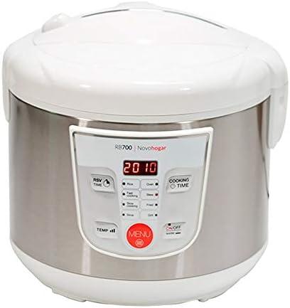 Novohogar Robot de Cocina Multifunción, Programable 24H. Cubeta Antiadherente 5L; 10 Comensales. Recetario, Pantalla Digital, 8 Menús, 8 Programas Automáticos: Cocina al Vapor, a Fuego Lento (Blanco): Amazon.es: Hogar