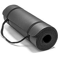 حصيرة اليوغا غير زلة 10 مم سميكة NBR الصالة الرياضية حصيرة تمرين حصيرة الرياضة - 183 * 61 سم - أسود