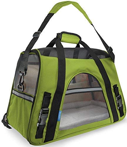 (Airline Approved Pet Carrier - Soft-Sided Carriers for Small Medium Cats and Dogs Air-Plane Travel On-Board Under Seat Carrying Bag with Fleece Bolster Bed For Kitten Cat Puppy Dog Taxi )