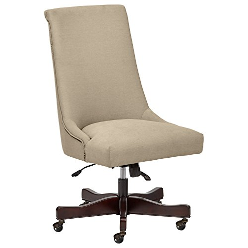 "Stone & Beam Nailhead Swivel Office Chair with Wheels, 28.4""W, Fawn"