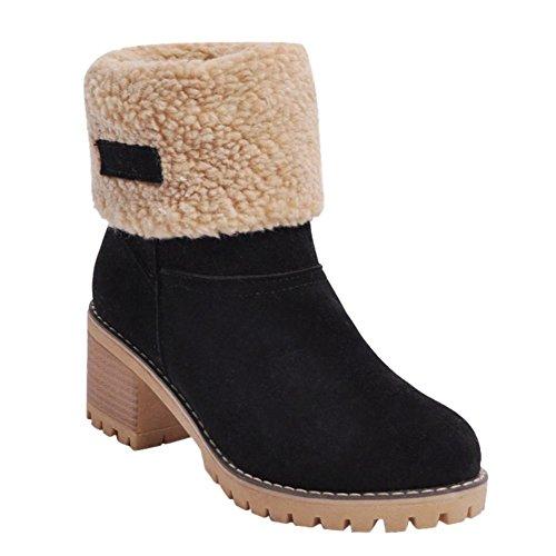 Charm Foot Womens Warm Chunky Mid Heel Velvet Lining Short Boots Black