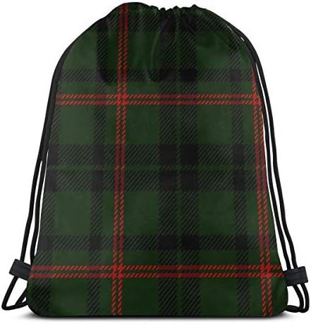 ブラックグリーンレッドスコットランドタータンドローストリングバッグジムダンスバッグバックパックハイキングビーチトラベルバッグ36 x 43cm