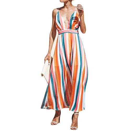 Colores Espagueti en de sin Mujeres a de Correa Hvzciuwrn Espalda Cuello Color con cóctel Orange Rayas XL Maxi tamaño de Vestido V Largo EgqxYZw