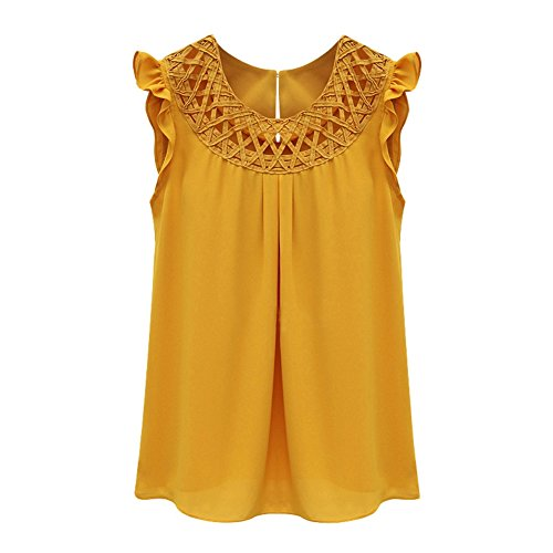 Women's Sleeveless Hollow Crochet Chiffon Tank Tops Blouse Shirt Tee Summer