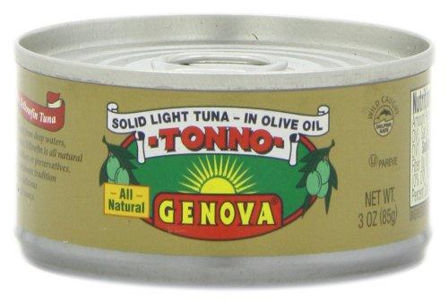 Genova Solid Light Yellowfin Tuna In Olive Oil, 3 Ounce Tins (Pack of 24) (Genova Tuna)
