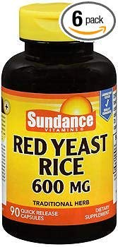 Sundance Red Yeast Rice 600 mg - 90 Quick Release Capsules, Pack of 6