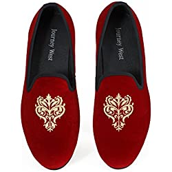 Men's Vintage Velvet Embroidery Noble Loafer Men Shoes Slip-on Loafer Smoking Slipper US 11