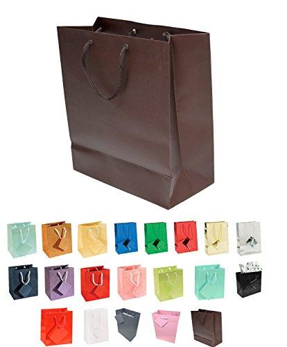 888 Display USA® Euro Tote Paper Gift Bag Bundles Dark Chocolate Brown Matte (10 Count) -