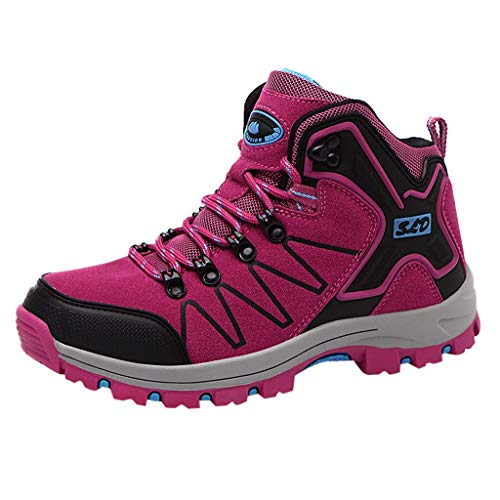 Emimarol Women's Outdoor Hiking Shoes Non-Slip Sports Shoes Couple Fashion Sneakers Hot Pink