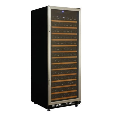 Avanti WCR1496SZ Wine Chiller with 149 Bottle Capacity Tempered Glass Door Stainless Steel Frame and Handle LED Display Lighting Wooden Shelves and Security Lock in
