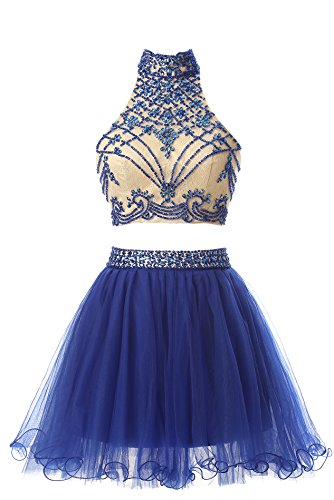 Butmoon Women's Beaded Halter-Neck Two Pieces Homecoming Dresses Cocktail Party Gown