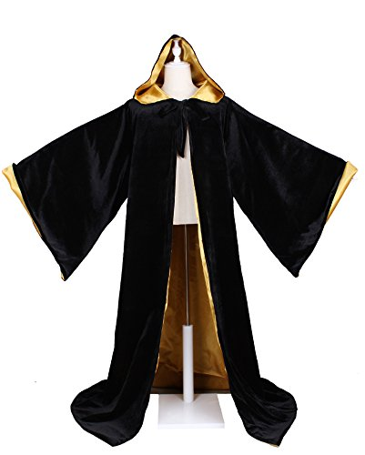 LuckyMjmy Velvet Wizard Robe with Satin Lined Hood and Sleeves (Black-Gold) ()