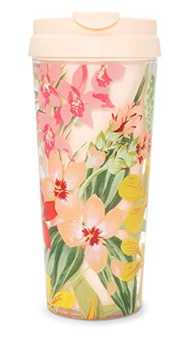 - Ban.do Hot Stuff Insulated Floral Thermal Travel Coffee Mug Tea Cup, 16 Ounces, Paradiso