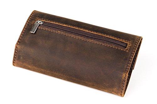 Tabaktasche braun aus echtem Leder mit Double-Paper Fach, Magnetverschluss und Tasche mit Reisverschluss, Tabakbeutel und Drehertasche von skaard