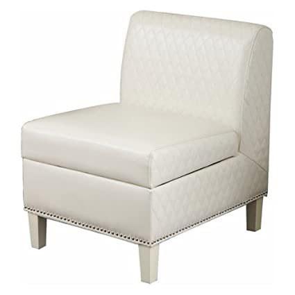 Best Selling Fawn Leather Armless Club Chair, White