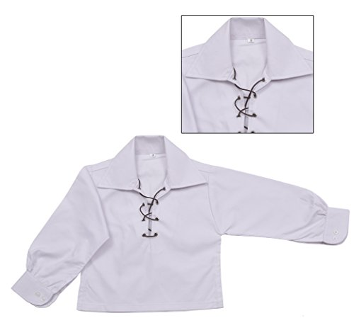 Children's Deluxe Ghillie Shirt Kids Boys Ghillie Shirt - White (9 - 10 (Scottish Outfit)