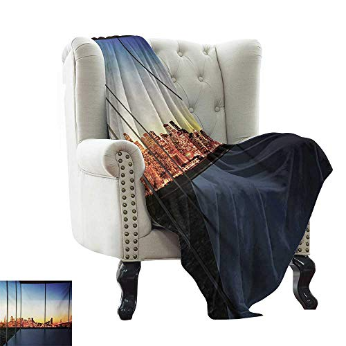 Weighted Blanket Adult Modern,Sunset in New York City USA Cityscape with Bridge Skyscrapers Image Print,Dark Blue and Orange All Season Light Weight Living Room/Bedroom 70