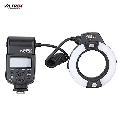 VILTROX JY-670N On-camera i-TTL Macro Close-up Fill-in LED Ring Flash Speedlite Light for Nikon D750 D810 D7200 D610 D7000 D5500 D5200 D5300 D3300 D3200 DSLR Camera with Adapter Ring by VILTROX