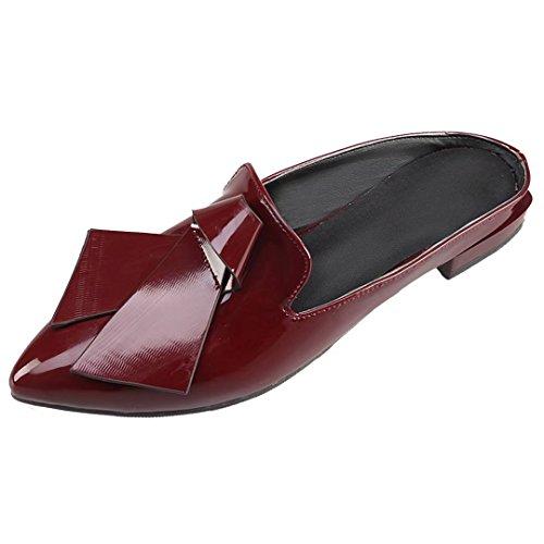 AIYOUMEI Damen Mules Frauen Slippers Schleife Schuhe mit für Bequeme Weinrot Flche Flach Pantoffeln XxwqrXPI