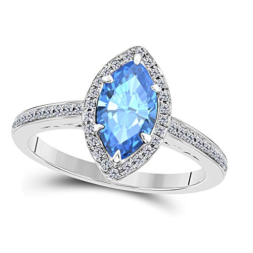 DreamJewels 1.20 Ct Created Blue Topaz Marquise Shape & CZ Simulated Diamond 14K White Gold Finish Halo Style Engagement Ring for Women's Girlfriend & Birthday Gift