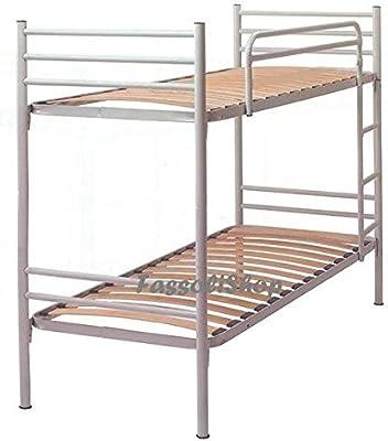 FassoliShop Litera metálica Blanca cm 80x190 (Total 80x203x150) con Escalera para Acceso a la Cama Superior: Amazon.es: Hogar