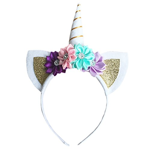Zeroyoyo Glitter Hair Hoop Gold Unicorn Horn Ears Flower Headband Halloween Cosplay Costume Makeup Birthday Party Headdress
