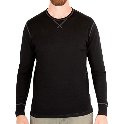 MERIWOOL Men's Merino Wool Heavyweight Baselayer Crew - Black/XL