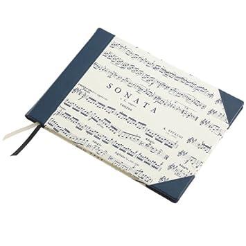 Musikliebhaber quer Creme Blau Notenbuch f/ür eigene Kompositionen Musikbuch Sonata hochwertig Geschenk f/ür Komponisten