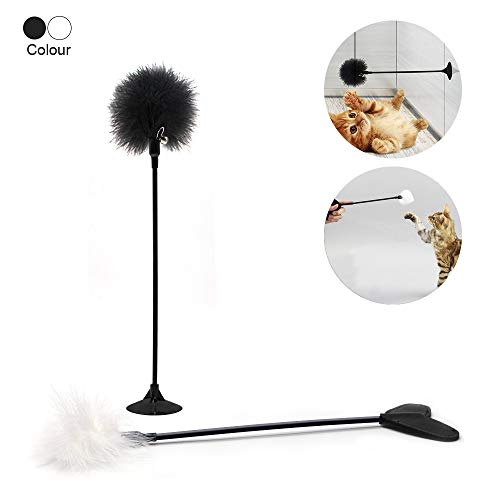 Wellbro Interactive Cat Toys, Pack of 2 Cat Feather Wand Toys with Suction Cup and Mini Bell, Kitten Teaser Wands for Cats and Kitties Fun, Play and Exercise (Suction Cup and Heart Handle) ()