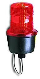 Federal Signal LP3M-120R Streamline Low Profile Strobe Light, Male Pipe Mount, 120 VAC, Red