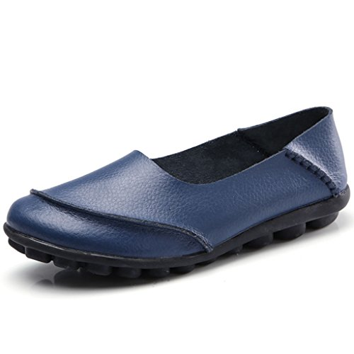 Labato Women's Cowhide Leather Casual Flat Driving Loafers Driving Moccasin Shoes 219-navy
