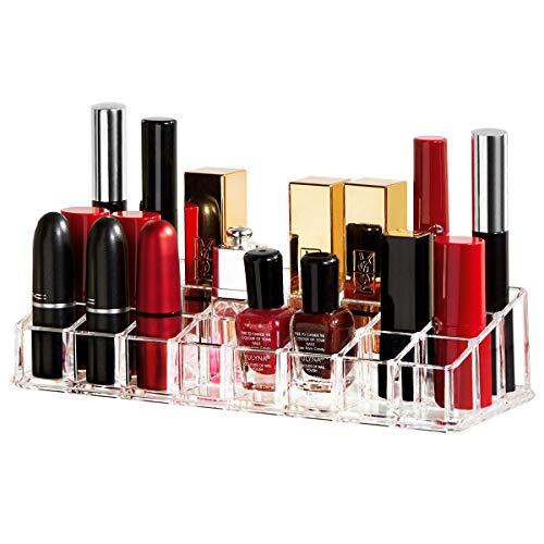 YOUDENOVA Lipstick Organizer, 24 Spaces Acrylic Lipstick Holder Cosmetic Clear Makeup Organizer
