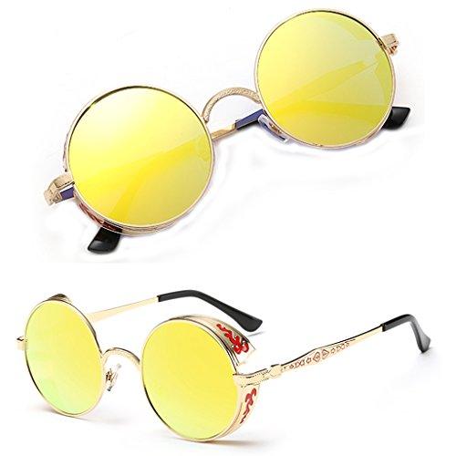 soleil Eyewear Gth rond Femme Mode Homme PUNK vintage Lunettes polarisées soleil de de Steampunk Miroir Mode Lunettes Loegrie qXFHUx
